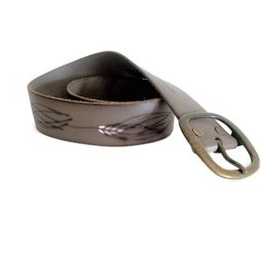 Gap Leather Wheat Embossed Belt ~ Gray
